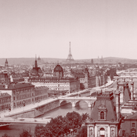 Panorama of the seven bridges, Paris, France, circa 1890-1900